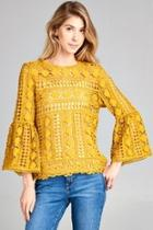 Bell-sleeve Crochet Top