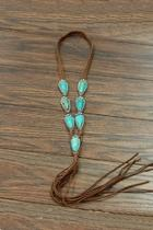 Natural-turquoise Long-suade Necklace