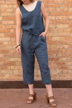 Cropped Linen Jumpsuit