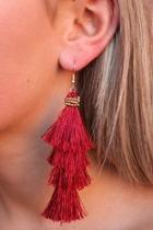 Garnet Tassel Earrings