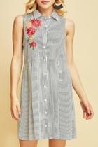 Striped Sleeveless Shirt-dress