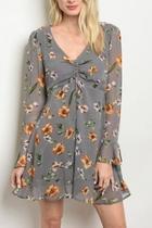 Grey Floralprint Dress