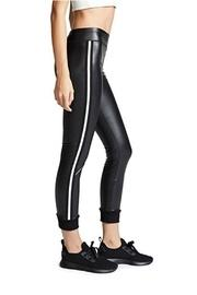 Striped Faux-leather Legging