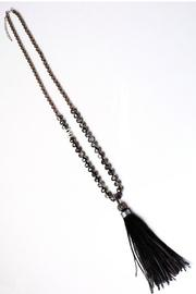 Long Feather And Suede Tassel Necklace