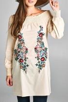 Embroidered Off-shoulder Tunic-dress