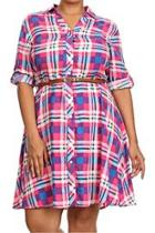 Plaid Belted Plus Dress