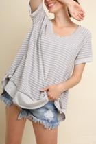 Stripe Vneck Top
