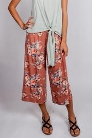 Muave-floral Button Pants