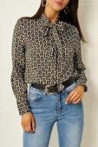 Heart-print Pussybow Blouse