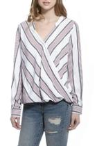Striped Overlap Blouse