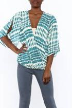 Aqua Surplice Blouse