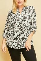 Plus-size Lorpard-print Vneck-top