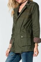 Embroidered Olive-cargo Jacket