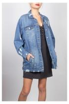 Distressed Long Denim-jacket