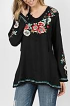 Embroidered Bell Top