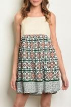 Cream Print Dress