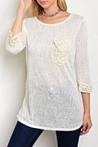Cream Crochet Quarter Top