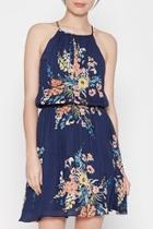 Halter Blue Floral Dress
