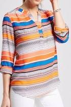 Orange Red Striped Top