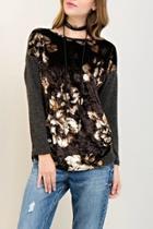 Floral Crushed-velvet Top