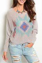 Tribal Gray Sweater