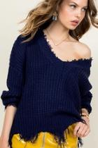 Frayed Vneck Sweater