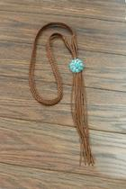 Natural Turquoise Long-suede-necklace