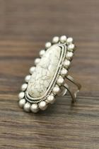 Natural-white-turquoise Adjustable Ring