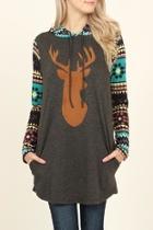 Suede Deer Hooded Tunic