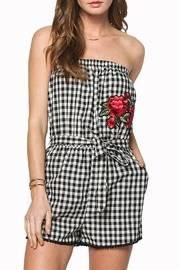 Embroidered Print Romper