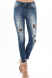 Distressed Leopard-accent Jeans