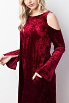 Crushed-velvet Cold-shoulder Dress