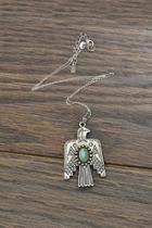Sterling-silver-chain Natural-turquoise Thunderbird-necklace