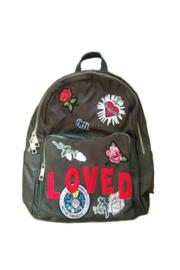 Army Nylon Stripe Loved Patch Backpack
