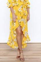 Bright Yellow Floral Skirt