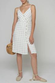 Assymetric Button Check Print Dress