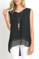 Black Crochet Trim Top