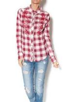 Plaid Embellished Button Up