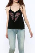 Black Embroidered Sleeveless Top