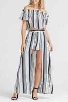 Striped Set Maxi-shorts