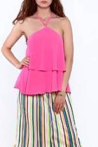 Pink Sleeveless Layered Top