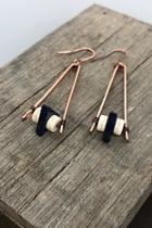 Copper/stone Dangle Earrings