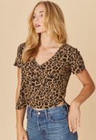 Lna Leopard Boxy V Neck