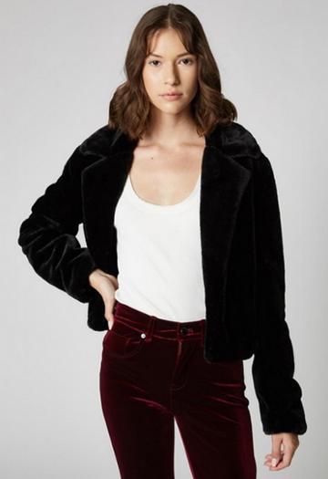 Blank Nyc Faux Fur Cropped Open Blazer