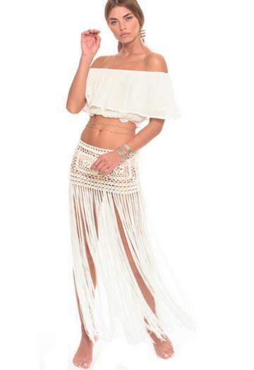Muche Et Muchette Javiera Hand Crochet Mini Skirt With Long Fringe