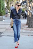 Mother The Insider Crop Step Fray Jean As Seen On Emma Roberts