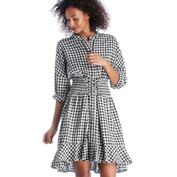 Moon River Moon River Notched Collar Dress With Frills - Black Gingham-xs