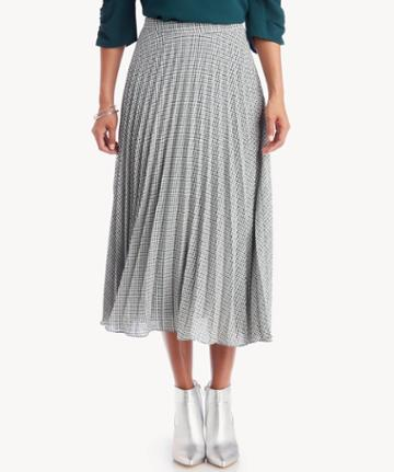 1. State 1. State Women's Fine Puppytooth Pleated Midi Skirt Pine Size 0 From Sole Society