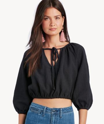 Rachel Pally Rachel Pally Women's Linen Cleo Top In Color: Black Size Xs From Sole Society