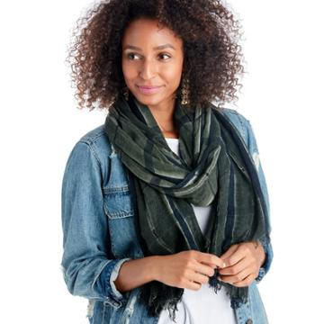 Sole Society Sole Society Window Pane Scarf - Olive Combo